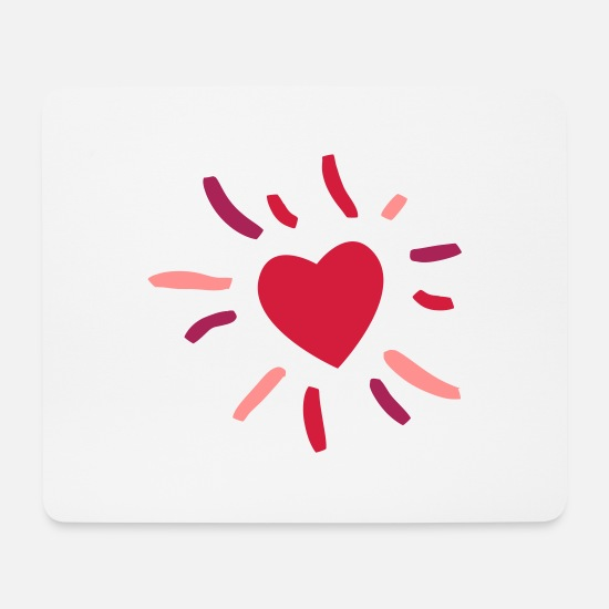 Love Mouse Pads - Heart with rays - Mouse Pad white