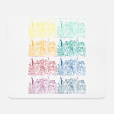 Neighborhood City copy rainbow houses colors not urban - Mouse Pad