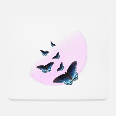 Pink moon with butterflies - Mouse Pad