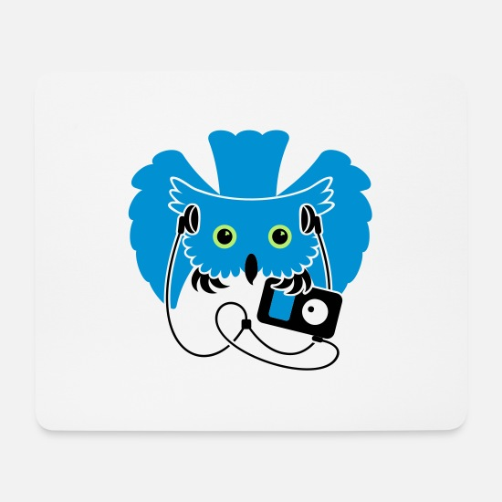 Mp3 Player Mousepads  - Nachteule / night owl (3c) - Mousepad Weiß
