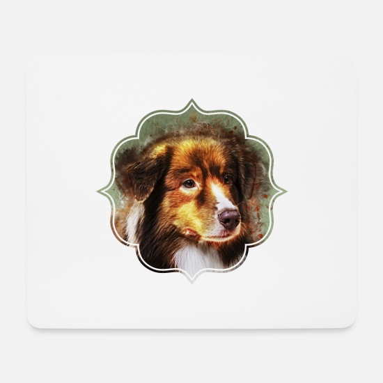 Canine Mouse Pads - Australian Shepherd Aussie - Mouse Pad white