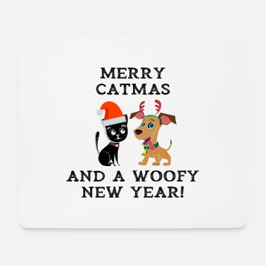 Woofy Merry Catmas And Woofy New Year Cat Dog Owner - Mouse Pad