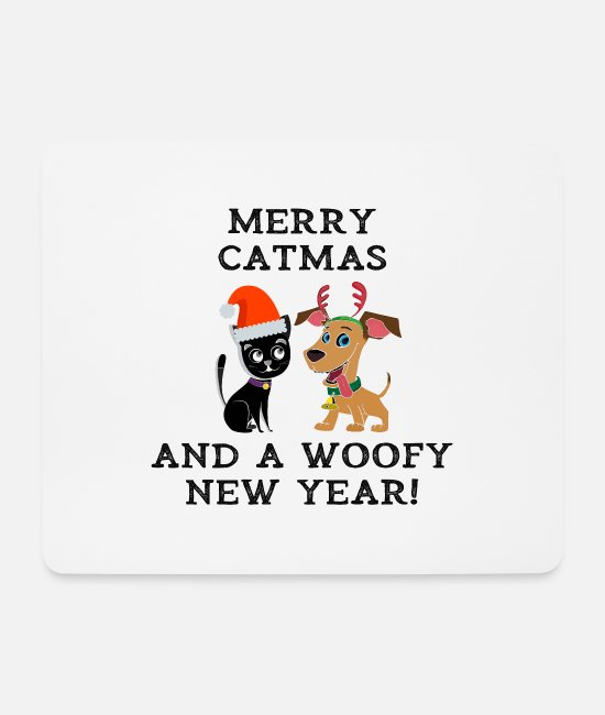 Happy New Year Mouse Pads - Merry Catmas And Woofy New Year Cat Dog Owner - Mouse Pad white