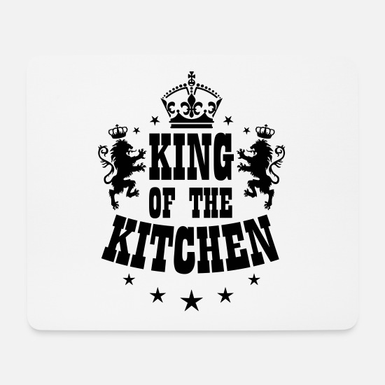 Boss Mouse Pads - 07 KING of the Kitchen lion crown - Mouse Pad white
