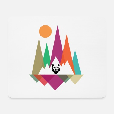 Hipster Mountains & Bear - Mouse Pad