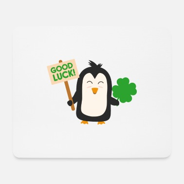 Lucky Clover Penguin with lucky clover - Mouse Pad