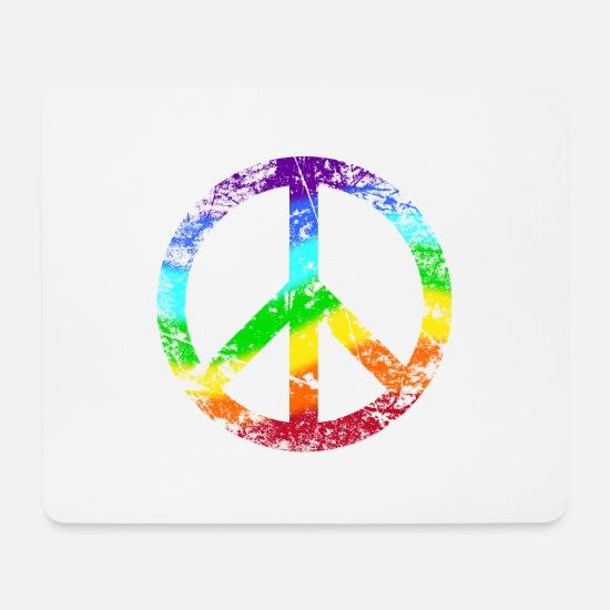 Rasta Mouse Pads - Peace sign Pace Peace Rainbow Grunge colorful - Mouse Pad white