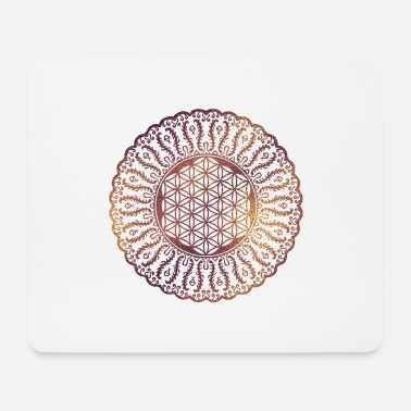 Mystic Flower of life in mandala gentle pastel glitter - Mouse Pad