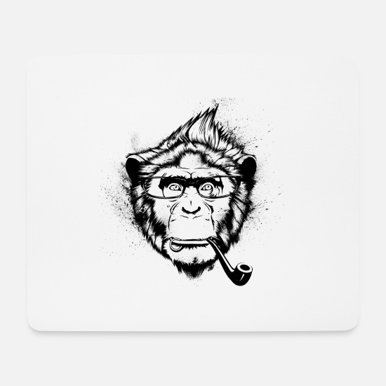 Hipster Mousepads  - Ironic Chimp - Mousepad Weiß