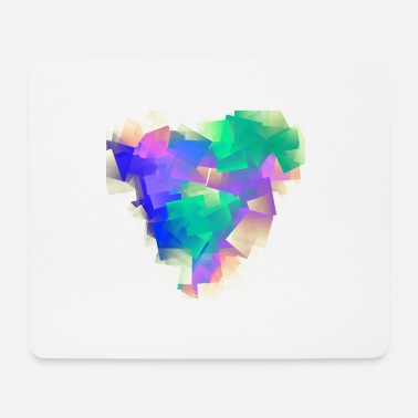 Abstract heart, colorful cubism - Mouse Pad
