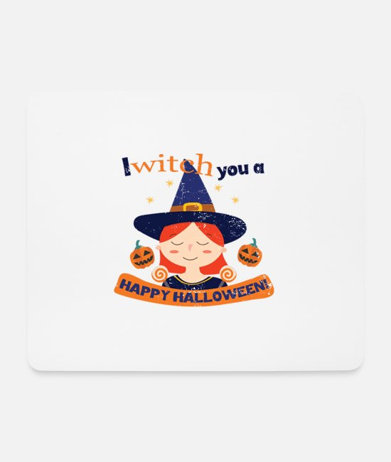 Witchcraft Mouse Pads - Happy Halloween Witch Witch Usedlook - Mouse Pad white