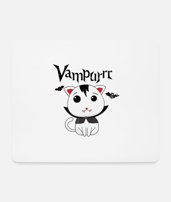 Horror Mouse Pads - Vampire cat Halloween is purring usedlook - Mouse Pad white