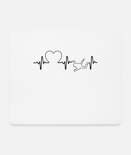 Skydiving Mouse Pads - Heartbeat skydiver heart skydiving - Mouse Pad white