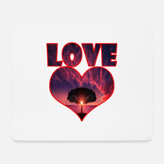 Love Mouse Pads - Big heart big love big tree - Mouse Pad white