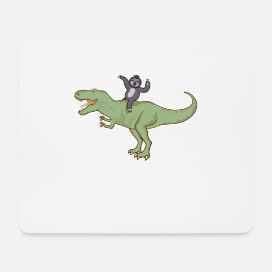 Dinosaur Mouse Pads - Sloth Riding A T-Rex Dino T-Shirt Design - Mouse Pad white