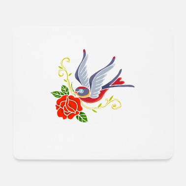 Beak Swallow with rose in the beak - Mouse Pad