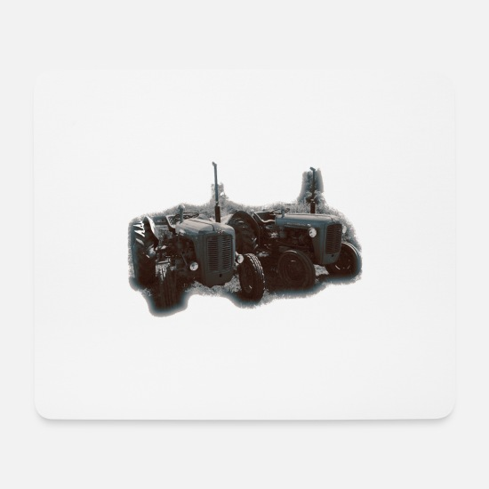 Retro Car Mouse Pads - tractor retro gray tone - Mouse Pad white