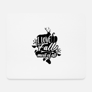 Apples I Love Fall Most of All Deer Pumpkin - Mouse Pad
