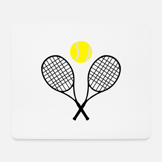 Tennis Player Mouse Pads - Tennis, tennis racket and tennis ball (cheap!) - Mouse Pad white