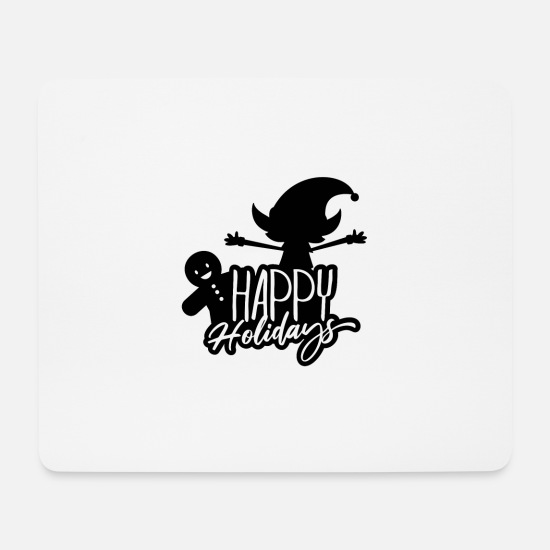 Happy Holidays Mouse Pads - Happy Holidays Christmas Elf Gingerbread - Mouse Pad white
