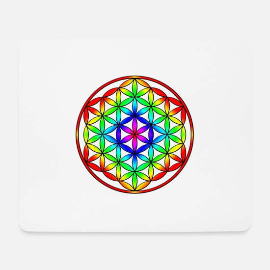 Flowers Mouse Pads - 3D Flower of life, flower of life rainbo - Mouse Pad white