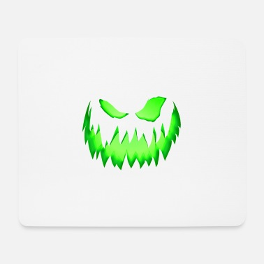 Scary Monster Green monster face - Mouse Pad