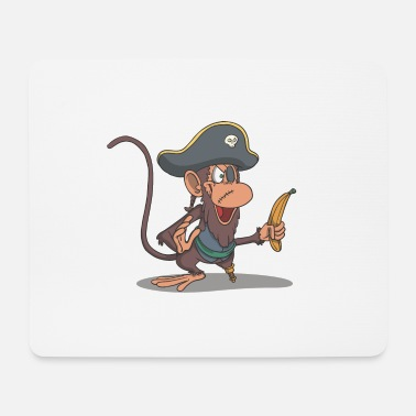 Wooden Leg Monkey as a pirate with wooden leg and banana - Mouse Pad