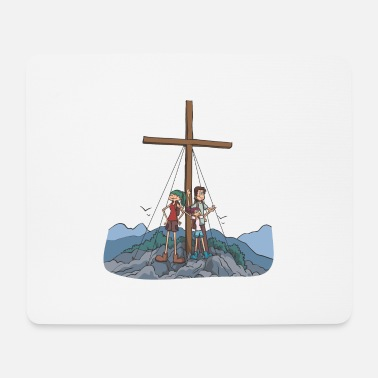 Alps Hikers at the summit cross in the mountains - Mouse Pad