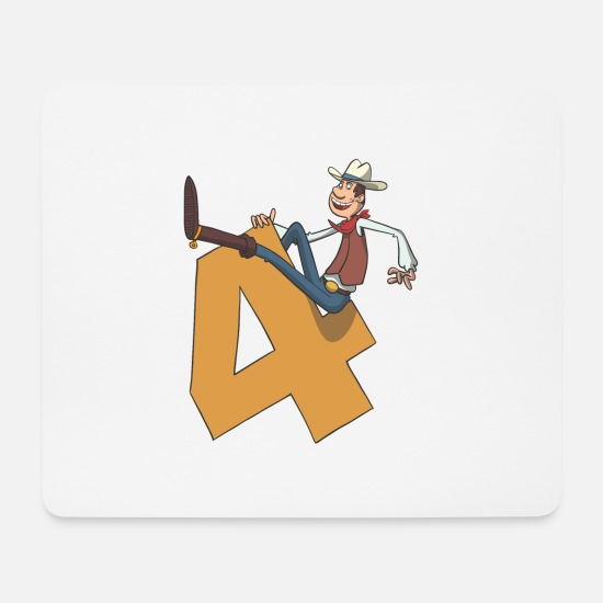 Birthday Mouse Pads - Cowboy children's birthday 4th birthday - Mouse Pad white