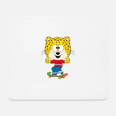 Leopard Funny leopard - cheetah - skateboard - Mouse Pad