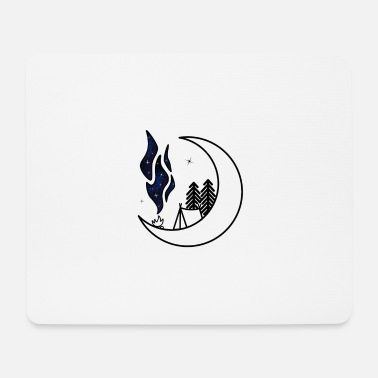 Campfire ALL minimalistic moon v2 tent moon universe - Mouse Pad