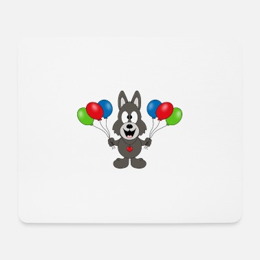 Cupid Wolf - Geburtstag - Luftballons - Party - Feier - Mousepad