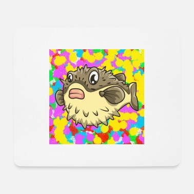 Pops Grumpy Pufferfish Pop Colour Tie Dye Background - Mouse Pad