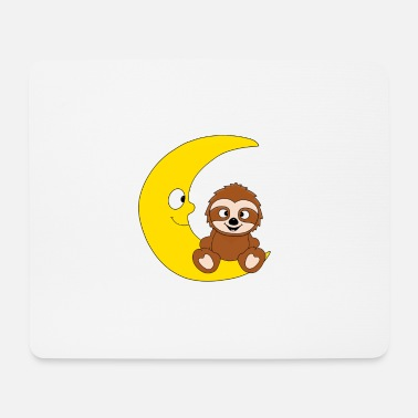 Sassy Sloth - moon - animal - children - cartoon - Mouse Pad