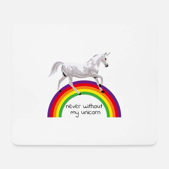 Gift Idea Mouse Pads - Unicorn unicorn mythical creature mythical animal rainbow - Mouse Pad white