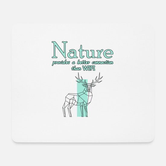 Stag Mouse Pads - Nature WiFi Online Offline Connection - Mouse Pad white