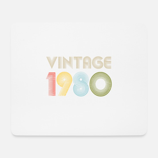 Birthday Mouse Pads - Vintage 40th Birthday Gift Born in 1980 - Mouse Pad white