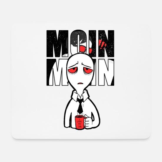 Kaffee Moin Moin Guten Morgen Arbeit Mousepad Querformat Weiß