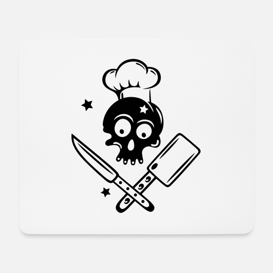 Love Mouse Pads - Skull with cooking hat, knives and stars. - Mouse Pad white