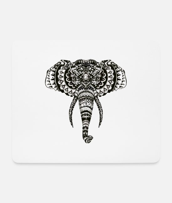 Design Mouse Pads - Elephant Zentangle - Mouse Pad white