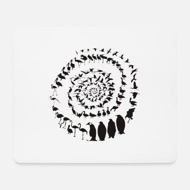 Waterfowl birds in a spiral - Mouse Pad