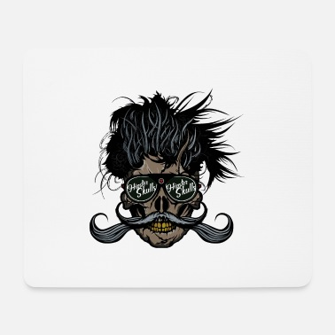 hipster skull head of death crane bearded mustache - Mouse Pad