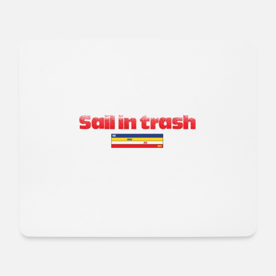 Red Mouse Pads - SAIL IN TRASH RED LOGO - Mouse Pad white