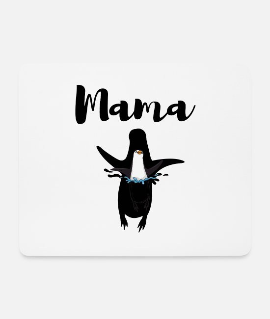 Heart Mouse Pads - Mama penguin - Mouse Pad white