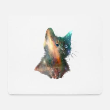 Space kitten with blue eyes - Mouse Pad
