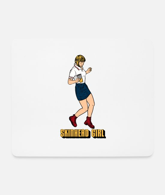 Ska Punk Mouse Pads - Skinhead Girl product | Trojan Traditional - Mouse Pad white