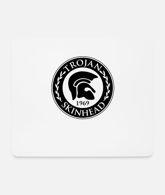 Traditional Mouse Pads - Trojan Skinhead design - AntiRacist Skinhead - Mouse Pad white