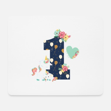 1st Birthday 1st birthday unicorn flowers - Mouse Pad