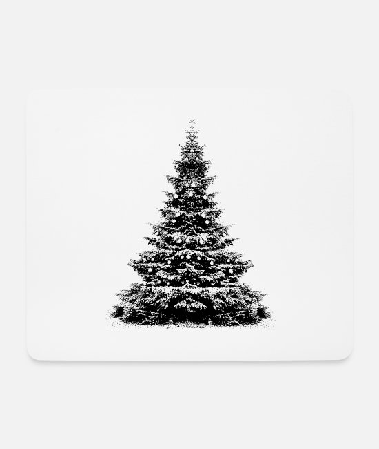 Drawing Mouse Pads - Christmas tree black and white realistic photo print - Mouse Pad white