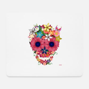 Wam skull flowers by wam - Mouse Pad